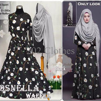 Model Baju Gamis Baju Muslim Baju Gamis Fashion ROSNELLA BLACK Modern