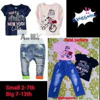 Setelan Ripped Jeans Anak Import Ann Mee 508 Small Size 2-7 Th