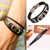 harga Punk Metal X Leather Bracelet Gelang Kulit Pria Tokopedia.com
