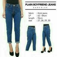 celana Boyfriend jeans | plain boyfriend navy biru dongker