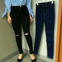 Jual ripped highwaist jeans | ripped hw | celana highwaist jeans wanita Murah