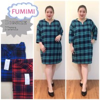 Fumimi Dress Jumbo Flanel Baju Atasan Wanita Bigsize Terusan Square