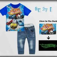 harga (6-10th) Baju Setelan Anak Laki Oshkosh Hot wheel Celana Jeans Panjang Tokopedia.com