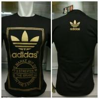kaos logo brand adidas gold emas combed hitam baju distro t shirt