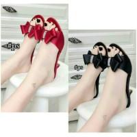Selop Heels Pita Merah, Hitam Grosir Tas / Sepatu / Baju Wanita Murah