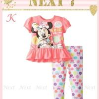 pakaian anak perempuan / baju setelan kaos leging minnie mouse