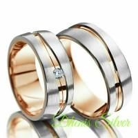 cincin kawin nikah tunangan pasangan perak lapis emas rosegold