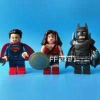 Lego Minifigure Superman, Batman Armored, Wonder Woman Bootleg Set