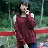 Baju Rajut Wanita Korea Sabrina Sweater Maroon
