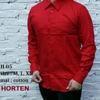 Jual Kemeja Polos Pria Slim Fit Merah Cabai Lengan Panjang KPMC-1 Murah