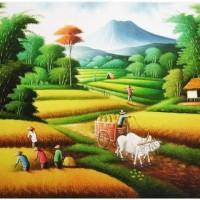 Repro Gambar Lukisan Panen Sawah Padi Sapi Painting Beautiful