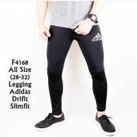 Celana Legging Panjang Pria Sport Gym Adidas Slim Fit Hitam F4168