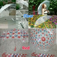 Jual payung transparant payung gagang besi musim hujan  japan kpop style Murah