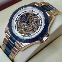Jual Rolex Skeleton Rosegold Combi Blue Murah