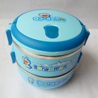 Jual Rantang Stainles Steel Karakter Doraemon Lunch Box 2 Susun kotak makan Murah