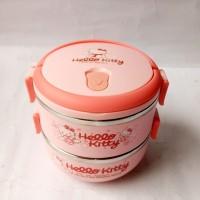 Jual Lunchbox Hello Kitty Rantang / Kotak Makan Stainless Steel 2 susun Murah