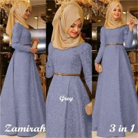 Hijab Maxi Zamirah 3in1 Gamis Wanita / Baju Muslim / Hijab