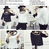 Baju Blouse Lengan Panjang baju hijab selebgram hijabers hitam putih