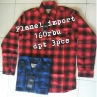 (grosir 160rbu dpt seri 3pcs) kemeja pria/wanita flanel import M L XL