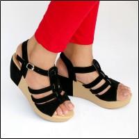 harga Sepatu Wanita Wedges Tali Hitam Cantik Murah Meriah Limited Stock Tokopedia.com