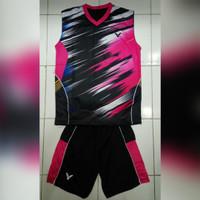Kaos Badminton Setelan Victor Olympic Singlet (black/pink)