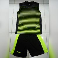 Kaos Badminton Setelan Lining Olympic Singlet (black/stabilo)