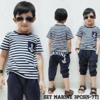 Set Marine Jangkar salur Baju Setelan Anak Laki-Laki Cowok