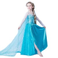 REAL PICTURE Kostum Anna Elsa Frozen, Dress Baju Pesta Import Gaun