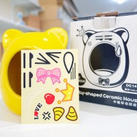 OC14 OIC Kitty Shaped Ceramic House Hamster Yellow Medium Rumah