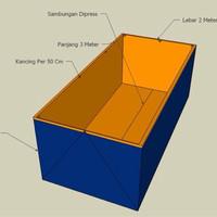 Jual kolam kotak 1x2x0,50 bahan a15 terpal Murah