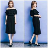 SABRINA MIDI JUMPSUIT DRESS BLACK WOMAN/PAKAIAN JUMSUIT WANITA