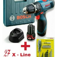 Bosch GSB 1080-2-Li Cordless Impact Drill + Bosch 27 X-Line Set - Paket