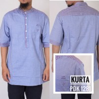 Baju Gamis Syari Pria Muslim Modern Warna Biru Bahan Katun Model Samas