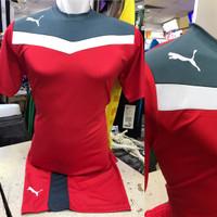 Setelan Jersey Bola Futsal Lokal Polosan Puma Garmen Merah