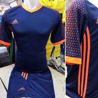 Setelan Jersey Bola Futsal Lokal Polosan Adidas MU Away Dongker Orange
