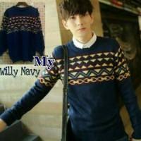 Sweater Rajut Pria My Willy Navy Diskon