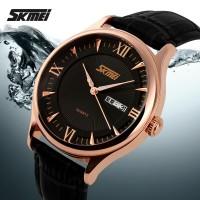 Jam Tangan Pria Original SKMEI Kulit Type Glass watch Casual