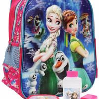 Tas Ransel TK Disney Frozen Fever 5D dan Water Bottle+Lunch Box - Pink