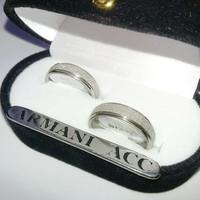 Set Couple Ring Cincin Titanium (Zircon Pasir) Keren Sudah Termasuk Ko