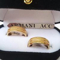 Cincin Couple Titanium Lapis Pasir Perak Plus Box Perhiasan