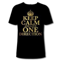 T SHIRT KEEP CALM AND LOVE ONE DIRECTION BLACK 001