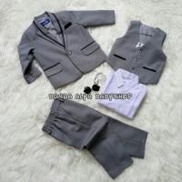 jas anak 6-7-8-9-10 TAHUN tuxedo jas anak 8IN1 ABU PREMIUM list hitam