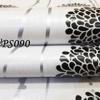 Jual WPS090-WHITE N BLACK CIRCLE FLOWER walpaper-dinding walpaper stiker d Murah