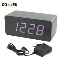 OHOME Jam Kayu Besar IN Digital Clock Alarm Calender Hitam LED Putih