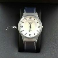 jam tangan pria wanita cowok cewek polos hitam merk swatch branded