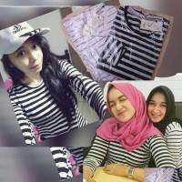 Jual atasan wanita baju wanita kaos belang salur stripe casual cantik Murah