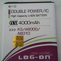 harga Baterai Log On Double Power Lenovo A6000 / K3 / A6010 Battery / Batre Tokopedia.com