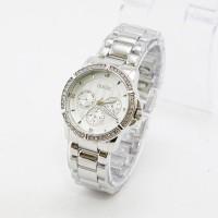 Luxury!! Jam Tangan Wanita / Cewe Guess M0867 Silver Limited
