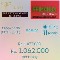 Tiket Sriwijaya Air Jakarta-Malang Tgl 10/12/2016