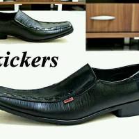 sepatu kulit kickers pantofel pria low strip hitam formal kerja